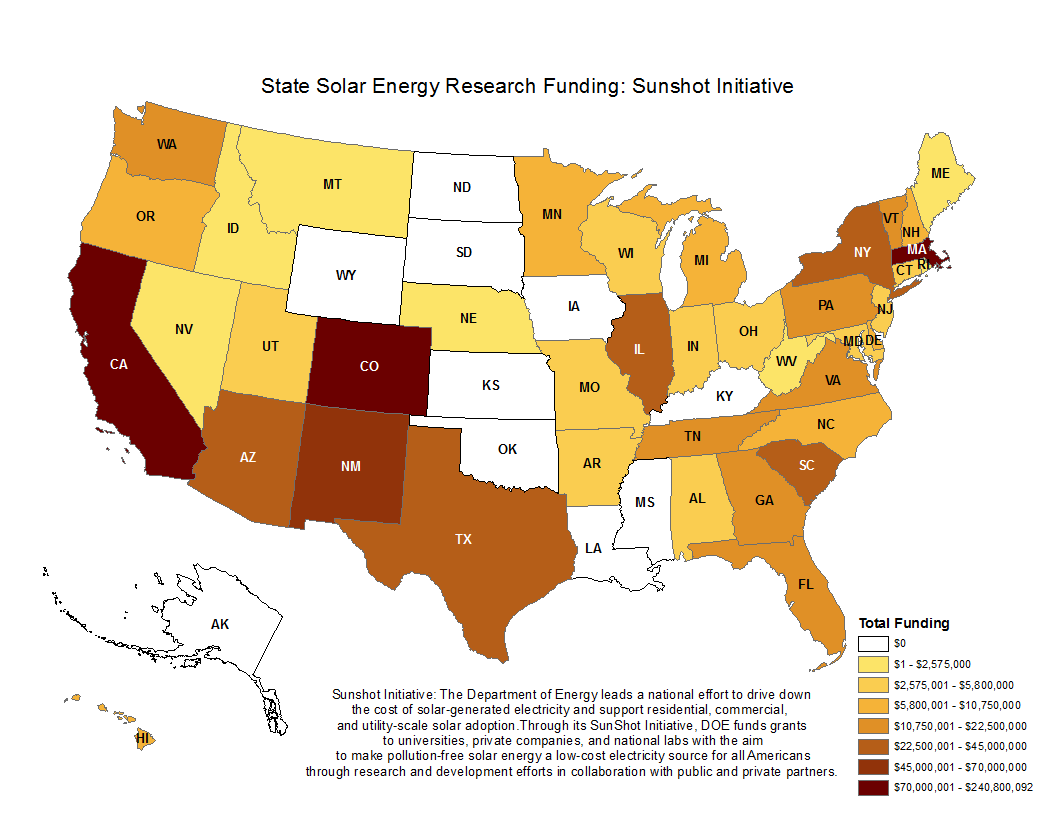 State Solar Energy Research Funding: Sunshot Initiative